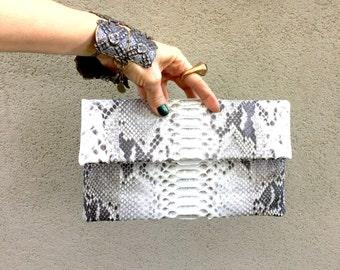 Pythonskin Clutch, Snake Skin Envelope Clutch Bag, Fold Over Clutch Bag called Lucy. Natural Colour