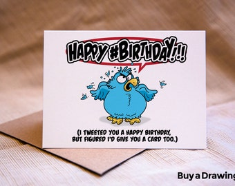 Twitter Happy Birthday Card - Twitter Bird Tweeting Birthday Card - Twitter Birthday Card - Happy #Birthday Hashtag!