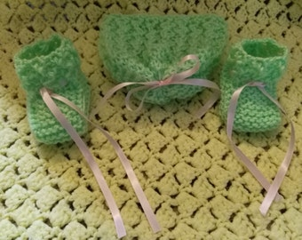 Super soft hand knit baby hat and booties