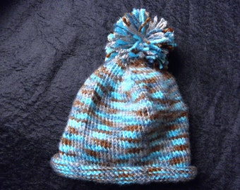 Blues and Brown Baby Hat