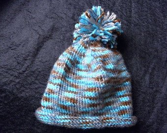 Baby Hat in Blues and Brown