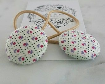 Fabric button hair elastics