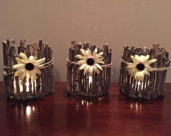 Set of three rustic glass candle holders with flowers, twigs and twine, rustic decor, farmhouse candle decor, home decor, fireplace mantle