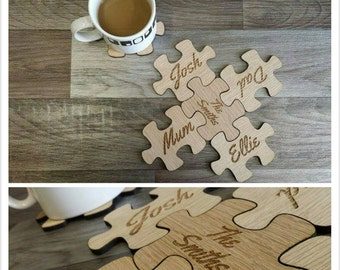 Personalised wooden puzzle coasters - 00150