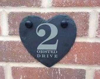 Personalised engraved slate heart door number/name plaque - 00124