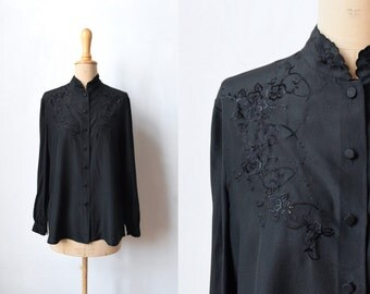 40s - 50s Hand Embroidered Silk Blouse Size M-L ~ Vintage 1950s Black Silk Blouse ~ Embroideries ~ Hand Embroideries ~