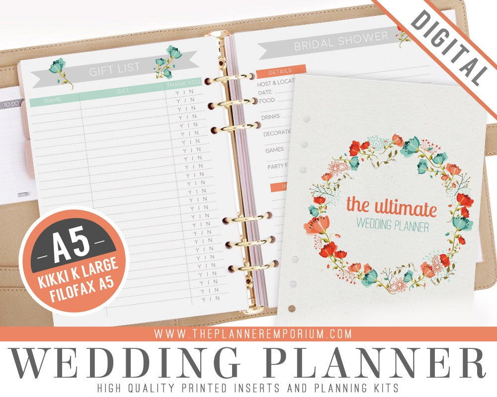 Printable Wedding Planner Binder Planning A Rustic: A5 Ultimate Wedding Planner Organizer Kit Instant Download