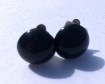 Clip On Earrings. Black and Silver Coloured Plastic Stud Clips Vintage