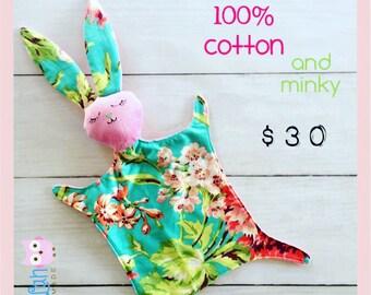 Bunny Lovie Lovey Bliss Tula Handmade Snuggly Soft Toy Cuddle Blankie