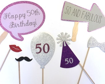 50th Birthday Party Props // Photo Booth // 50th Birthday Party Decorations // 50 and Fabulous