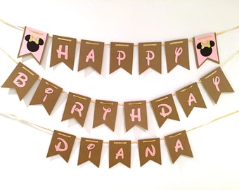 Pink and gold Minnie Mouse Inspired banner, happy birthday banner, pink and gold minnie mouse party decorations