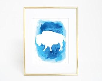 Buffalo Print, Blue Watercolor, Bison Print, Bison Art Print, Digital Print, Printable Wall Art, Digital Print, Instant Download, Wall Decor
