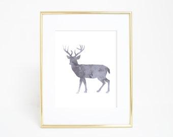Deer Print, Deer Poster, Nursery Animal Art Print, Printable Decor, Woodland Nursery, Woodland Art Print, Gray Wall Decor, Gray Deer, Forest