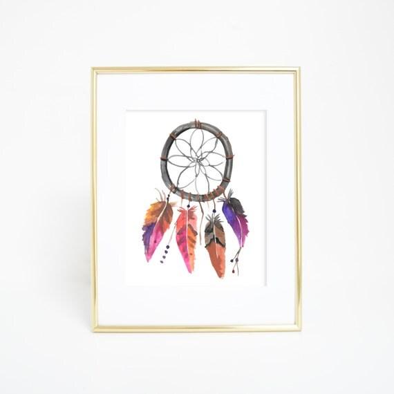 Dreamcatcher Print, Printable Women Gifts, Dream Catcher Print, Feather Print, Tribal Prints, Watercolor Art, Printable Wall Art, Tribal Art
