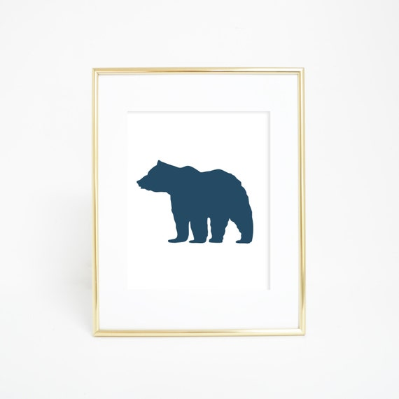 Navy Blue Bear Print, Bear Art, Bear Print, Navy Blue Print, Bear Wall Print, Digital Wall Art, Digital Wall Print, Printable Art Work