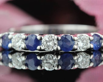 0.85 ct tw 7 Stone Diamond and Blue Sapphire Ring, Band in 14k White Gold