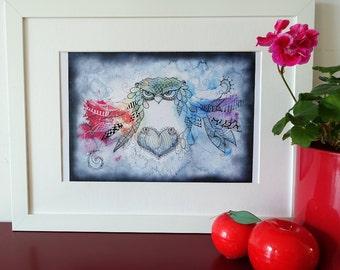 Rainbow zentangle owl, zendoodle watercolor art. Print of my original painting.