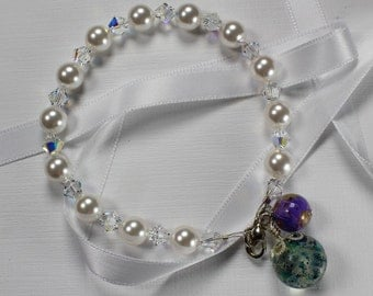 Swarovski Drop Bracelet - Memorial Flower Jewelry by My Beautiful Blue Moments
