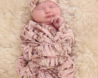 Newborn Knit Swaddle Set Photo Prop Pink Camel