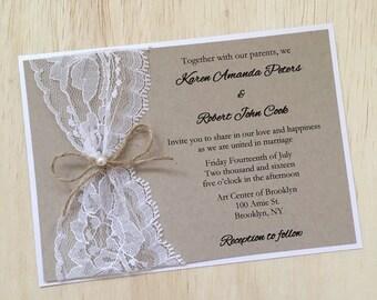 Rustic wedding invitation, lace wedding invitation, twine pearl wedding invitation, rustic lace invitation