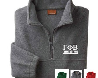Gamma Phi Beta // Gamma Phi // Sorority Embroidered Fleece Quarter Zip Jacket // Pullover