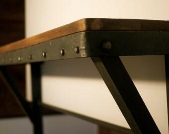 Vintage, industrial-style shelves