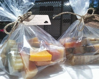 Mini Soap Bag/Soap Sale/Organic Soap/Samples/Odds And Ends/Soap Sampler/Bars/Essential Oil Soap/Natural/Handmade/Soap Favors/Valentine Gift