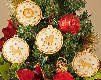 Dog Christmas Ornament - Custom Engraved Wooden Tree Decoration - Personalized Dog Ornament - Custom Puppy Ornament
