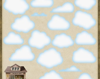 18 Cute PNG Clouds for Scrapbooking *Instant Download*