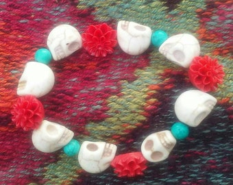 Skull, flower, and turquoise stretchy bracelet