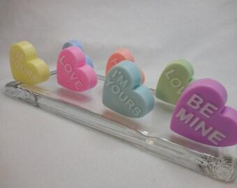 Candy Heart Soaps - Heart Soap - Valentines Day Soap - Candy Soap - Valentine Favors - Soap Wedding Favor - Romantic Soap - Kiss Soap - 5 pk
