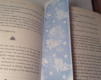 Unique bookmark, paper bookmark, gift idea, blue, butterflies, pretty, stationery