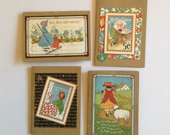 Nursery rhyme cards, mother goose, baby cards, kraft, kids, children's cards