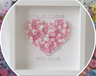 Handmade Personalised 'You are so loved' New Baby Heart Button Frame