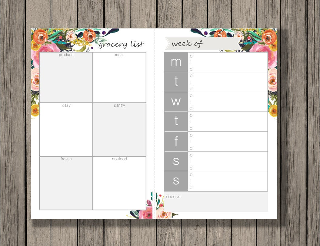 Meal planning printable, Grocery List printable, Meal Planner, Weekly ...