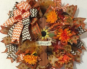 Fall Wreath, Cross Wreath, Fall Harvest, Deco Mesh, Chevron Ribbons, Flowers