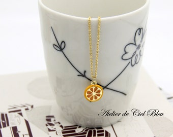 Orange Necklace, Tiny Orange Necklace, Tiny Orange Slice Necklace, Gold Orange Slice Necklace, Enamel Orange Slice Necklace, Orange Jewelry