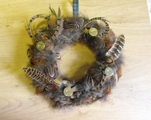 Pheasant feather wreath, real feathers , country living, home decor