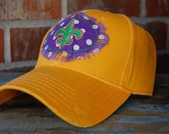 Mardi Gras Cap-Mardi Gras Baseball Cap-Mardi Gras Hat-Fleur Di Lis Cap-Fleur Di Lis Hat-Fat Tuesday Cap-Fat Tuesday Hat-Gold-Purple-Green