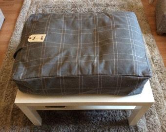 Grey check bean bag dog bed