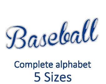Baseball Font Embroidery design. (5 sizes)