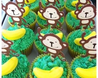 12 x Monkey Cupcake toppers - zoo, safari, jungle, birthday party