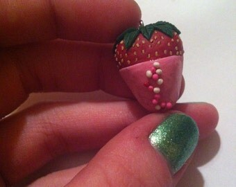 Chocolate covered strawberry necklace pendants.