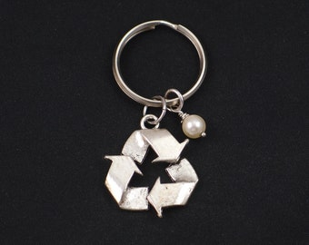 recycle symbol keychain, Swarovski pearl choice, silver recycle symbol charm keyring, recycling key chain, save Mother Earth, eco friendly