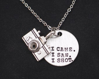 I Came I Saw I Shot necklace, hand stamped necklace with camera charm, photographer gift, photographer camera quotes, camera charm necklace
