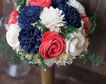 Sola bouquet, keepsake bouquet, wedding flowers, rustic wedding, deep navy deep coral bouquet