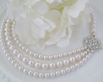 Swarovski multi-strand pearl necklace, Vintage style bridal necklace, Pearl wedding necklace