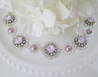 Wedding Hair Accessory, Blush Boho headpiece, Swarovski pink opal halo, Vintage style hairpiece