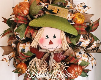 Fall Wreath Scarecrow Wreath Harvest Wreath Thanksgiving Wreath Fall Thanksgiving Scarecrow Deco Mesh Wreaths *MADE TO ORDER*