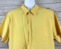 Abercrombie and Fitch Yellow Oxford Short Sleeve Button Up Mens XL Extra Large A&F Rare Vintage Great Shape - Rare - High Fashion
